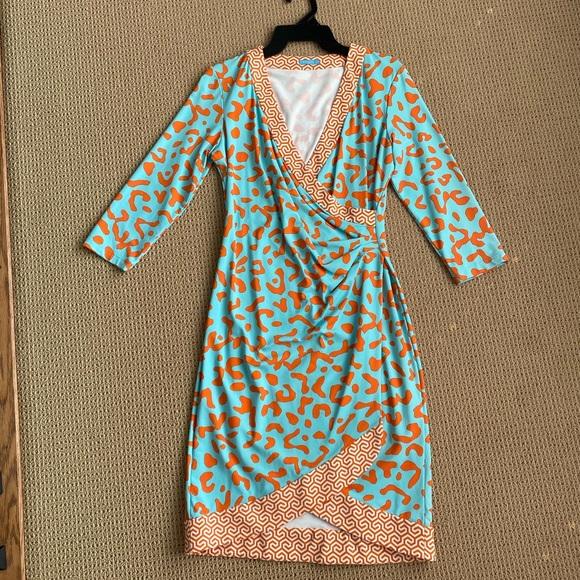 J.McLaughlin Nylon Wrap Dress- Aqua & Orange- S